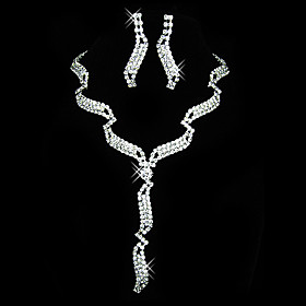 Gorgeous Czech Rhinestones With Alloy Plated Wedding Bridal Jewelry Set,Including Necklace And Earrings