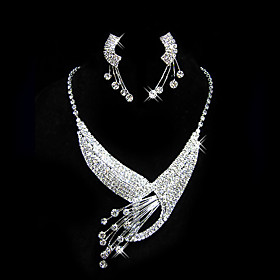Gorgeous Alloy With Rhinestones Jewelry Set,Including Necklace And Earrings