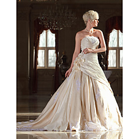 A-line Strapless Cathedral Train Taffeta Wedding Dress with Flowers (WSM04451)