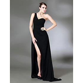 Column One Shoulder Sweep Train Chiffon Over Stretch Satin Evening Dress inspired by Jennifer Aniston at Golden Globe
