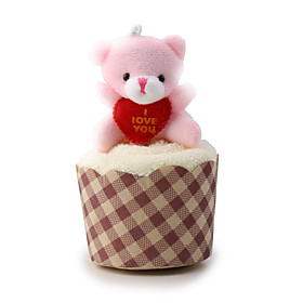 Cute Little Bear Wrapped Roll-Up Cotton Towel Valentine/Party/Wedding Gift