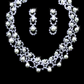 Gorgeous Alloy With Rhinestones/ Imitation Pearls Wedding Bridal Jewelry Set