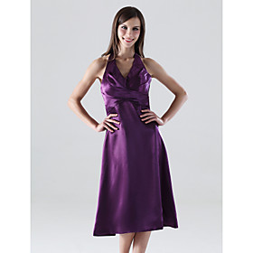 A-line Halter Tea-length Satin Bridesmaid/ Wedding Party Dress