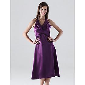 A-line Halter Tea-length Satin Bridesmaid/ Wedding Party Dress