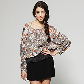 Printed Loose Bat Sleeves Blouse / Women's Blouses (FF-D-BL0736702)