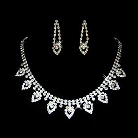 Shining Czech Rhinestones With Alloy Plated Wedding Bridal Necklace And Earrings Jewelry Set