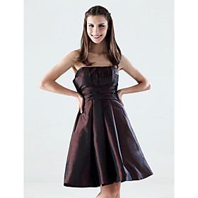 A-line Strapless Knee-length Taffeta Bridesmaid/ Wedding Party Dress (HSX759)