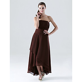 2009 Stytle A-line Strapless Asymmetrical Chiffon Bridesmaid/ Wedding Party Dress (HSX218)