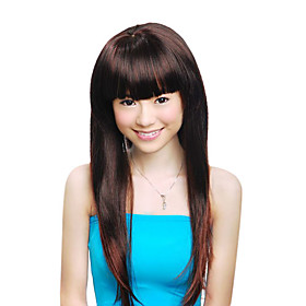Capless Extra Long High Quality Synthetic Dark Aubum Straight Hair Wig