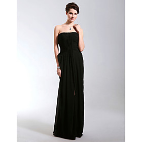 Sheath/ Column Strapless Empire Floor-length Chiffon Evening Dress
