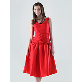 A-line V-neck Knee-length Taffeta Bridesmaid/ Wedding Party Dress (HSX186)