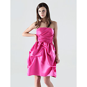 A-line Strapless Short/Mini Satin Bridesmaid/ Cocktail Dress