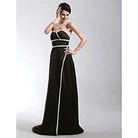 A-line Sweetheart Sweep/ Brush Train Satin Evening Dress (FSD0220)