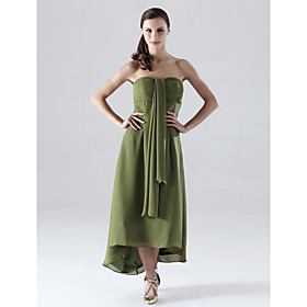 Sheath/ Column Strapless Asymmetrical Chiffon Bridesmaid/ Wedding Party Dress (HSX195)