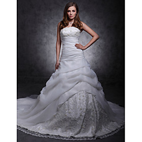 A-line Strapless Cathedral Train Organza Over  Lace Wedding Dress with Split Front