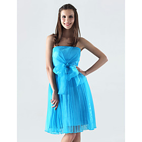 A-line Strapless Short/ Mini Organza Over Satin Bridesmaid/ Wedding Party Dress (HSX288)