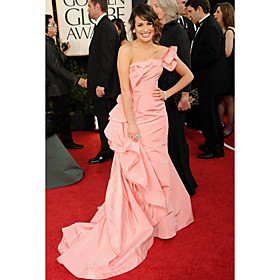 Lea Michele Trumpet/ Mermaid One Shoulder Court Train Taffeta Evening/ Golden Globe Dress(WSA11516)