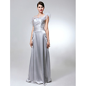 Sheath/ Column One Shoulder Floor-length Elastic Silk-like Satin Organza Bridesmaid Dress