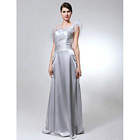 Sheath/ Column One Shoulder Floor-length Elastic Silk-like Satin Organza Bridesmaid Dress
