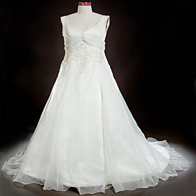 A-line/ Princess Scoop Court Train Satin Organza Plus Size Wedding Dress