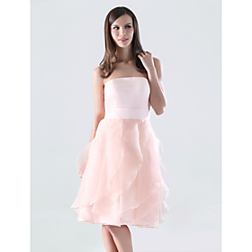 Clearance! A-line Strapless Knee-length Organza Over Satin Bridesmaid/ Wedding Party Dress