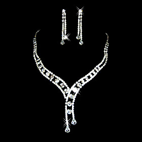 Gorgeous Czech Rhinestones With Alloy Plated Wedding Jewelry Set,Including Necklace And Earrings
