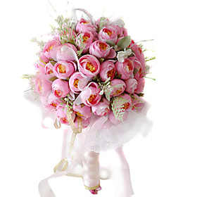 Elegant Silk Rose With Chiffon Decoration Round Wedding Bouquet Bridal Bouquet0797 SIM132