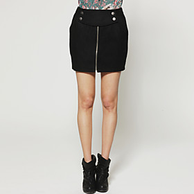Double-breasted Buttons Front Zipper Skirt / Women's Skirts (FF-H-CA2012001)