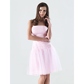 A-line Strapless Knee-length Tulle Over Matte Satin Bridesmaid/ Wedding Party Dress