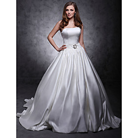 Ball Gown Strapless Chapel Train Satin Wedding Dress (WSM04460)