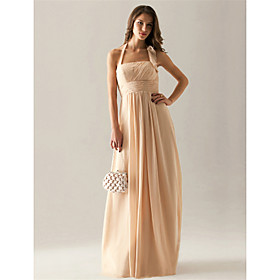 Empire Halter Floor-length Chiffon Elastic satin Ruffles Bridesmaid Dress(FSL0855)