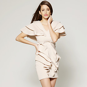 TS Nude Ruffle Dress
