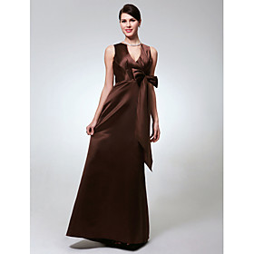 Sheath/ Column V-neck Floor-length Satin Bridesmaid Dress (FSA1111007)