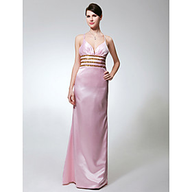 Sheath/ Column Straps Floor-length Elastic Silk-like Satin Evening Dress (GYE150)