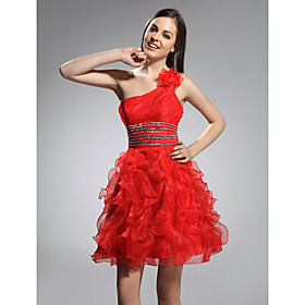Ball Gown One Shoulder Short/ Mini Organza Stretch Satin Cocktail Dress bachelorette party dress