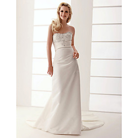 Sheath/ Column Sweetheart Court Train Satin Wedding Dress