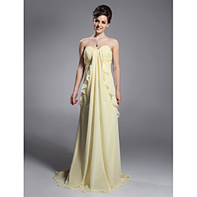 Sheath/ Column Sweetheart Sweep/ Brush Train Chiffon Elastic Woven Satin Evening Dress