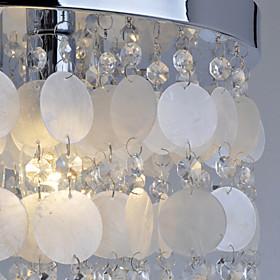 Venda Por Atacado branco do escudo de cristal + pingente para lustre (cromado) quarto