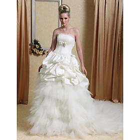 Ball Gown Strapless Chapel Train Satin Tulle Tiered Wedding Dress