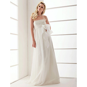 Sheath/Column Strapless Floor-length Organza Wedding Dress With Bow