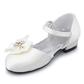 Satin Upper Flat Closed-toes With Flower Flower Girls / Wedding Shoes (0629-FG0018)