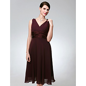 2009 Style A-line V-neck Tea-length Chiffon Matte Satin Bridesmaid/ Wedding Party Dress (HSX156)