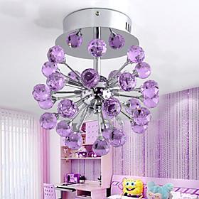 6-light Floral Shape K9 Crystal Ceiling Light-Purple (0942-98004-C-6P)