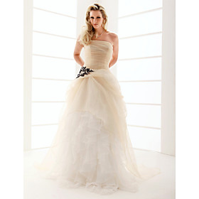 Ball Gown Strapless Floor-length Satin Organza Ruffles Wedding Dress (WSM0178)