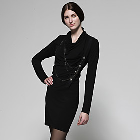 TS Chain Cowl Collar Long Sleeve Dress