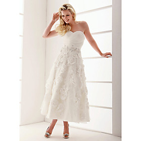 A-line Sweetheart Ankle-length Lace Wedding Dress