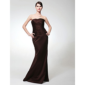 Empire Strapless Floor-length Satin Bridesmaid/ Wedding Party Dress