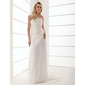 Sheath/ Column One Shoulder Sweep/ Brush Train Chiffon Wedding Dress (WSM04575)