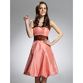 A-line Spaghetti Straps Knee-Length Taffeta Bridesmaid/ Wedding Party Dress
