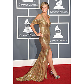 Heidi Klum Trumpet/ Mermaid Off-the-shoulder Court Train Sequined Grammy/ Evening Dress (FSM04589)